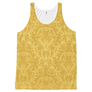 Luxury Golden Floral Wallpaper All-Over Print Tank Top