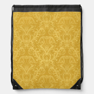 Luxury Golden Floral Wallpaper Drawstring Bag