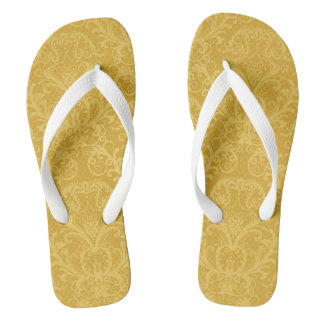 Luxury Golden Floral Wallpaper Flip Flops