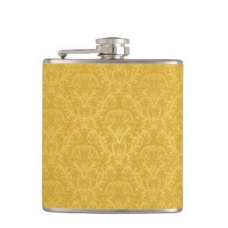 Luxury Golden Floral Wallpaper Hip Flask