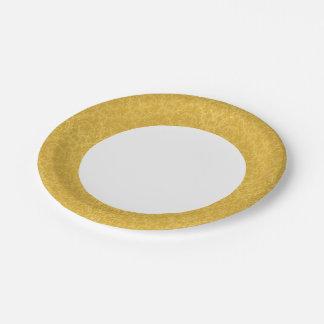 Luxury Golden Floral Wallpaper Paper Plate