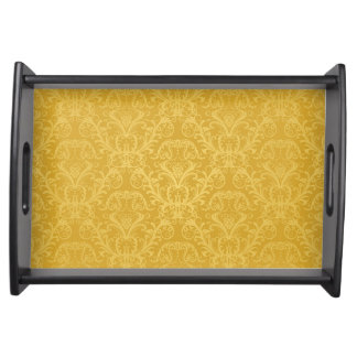 Luxury Golden Floral Wallpaper Serving Tray
