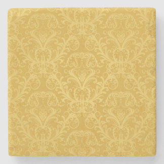 Luxury Golden Floral Wallpaper Stone Coaster