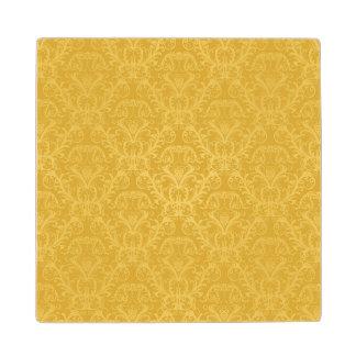 Luxury Golden Floral Wallpaper Wood Coaster