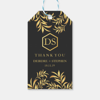 Luxury Golden Leaves Wedding Thank You Gift Tags