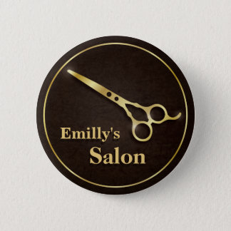 Luxury Golden Scissors Makeup Hair Salon Buttons