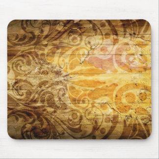 LUXURY GOLDEN SCROLL PATTERN VINTAGE SWIRLS DIGITA MOUSE MAT