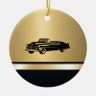 luxury golden  vintage classy old car personalized christmas ornament