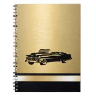 luxury golden  vintage classy old car personalized notebooks