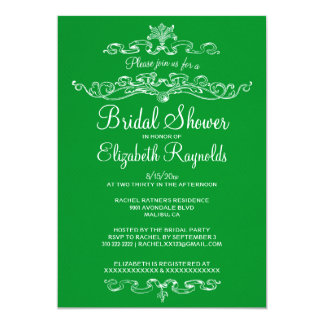 "Luxury Green Bridal Shower Invitations 5"" X 7"" Invitation Card"