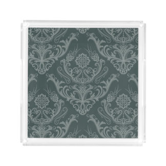 Luxury green floral damask wallpaper acrylic tray