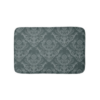 Luxury green floral damask wallpaper bath mat