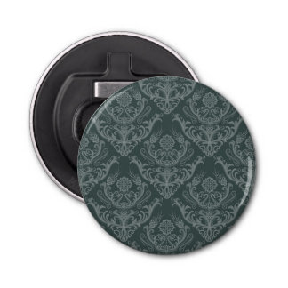 Luxury green floral damask wallpaper bottle opener