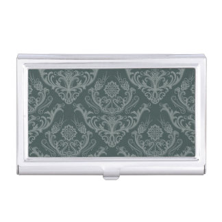 Luxury green floral damask wallpaper business card holder