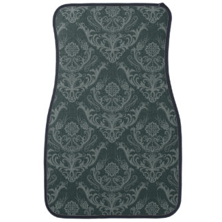 Luxury green floral damask wallpaper car mat