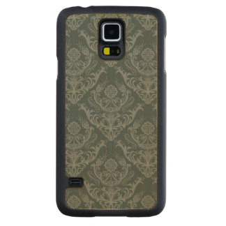Luxury green floral damask wallpaper carved maple galaxy s5 case