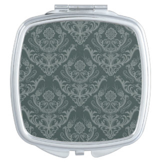 Luxury green floral damask wallpaper compact mirrors
