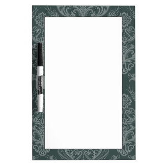 Luxury green floral damask wallpaper Dry-Erase board