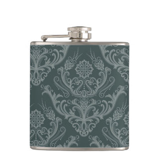 Luxury green floral damask wallpaper flask