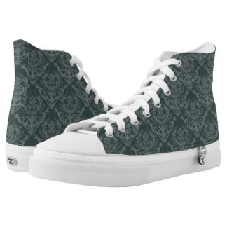 Luxury green floral damask wallpaper high tops