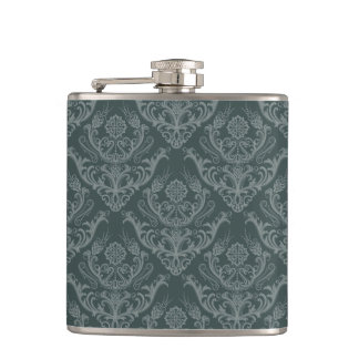 Luxury green floral damask wallpaper hip flask