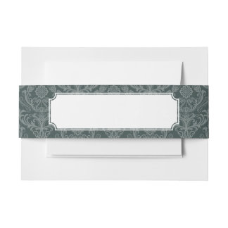 Luxury green floral damask wallpaper invitation belly band