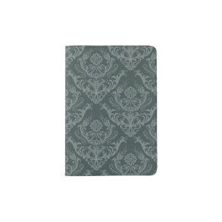 Luxury green floral damask wallpaper passport holder