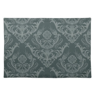 Luxury green floral damask wallpaper placemat