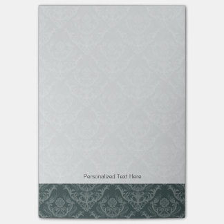 Luxury green floral damask wallpaper post-it notes