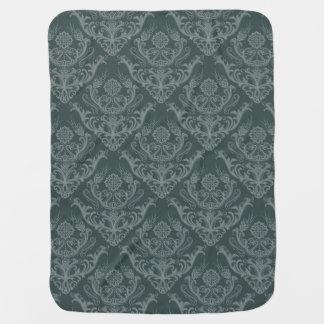 Luxury green floral damask wallpaper pramblankets