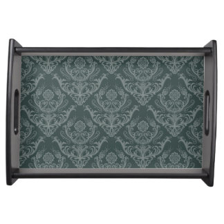 Luxury green floral damask wallpaper serving tray
