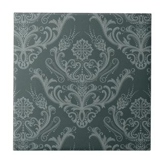 Luxury green floral damask wallpaper tile