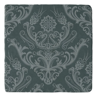 Luxury green floral damask wallpaper trivet