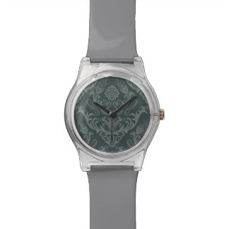 Luxury green floral damask wallpaper watch