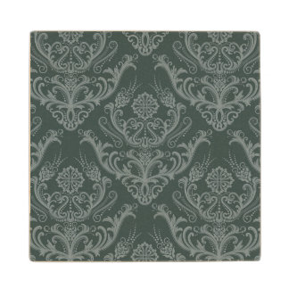 Luxury green floral damask wallpaper wood coaster