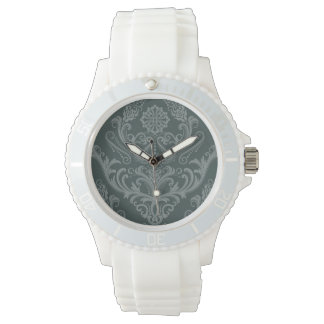 Luxury green floral damask wallpaper wrist watches