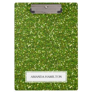 Luxury Green Greenery Glitter add your name Clipboard