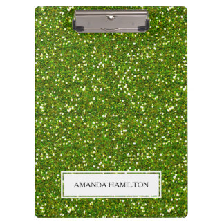 Luxury Green Greenery Glitter add your name Clipboards
