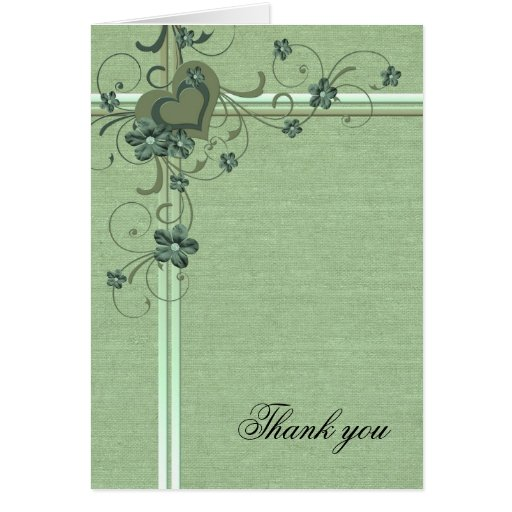 Luxury Green Heart Burlap Thank you card Greeting Cards