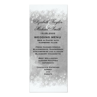 Luxury Grey Frosty Snowflake Winter Menu Card