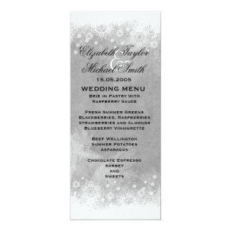 Luxury Grey Frosty Snowflake Winter Menu 10 Cm X 24 Cm Invitation Card