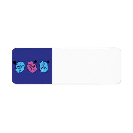 LUXURY HAND DRAWN Folk Ethno Flowers BLUE Return Address Label