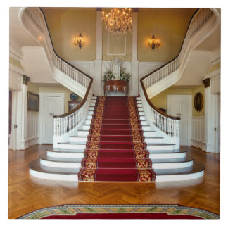 Luxury Home Red Carpet Stairs Chandelier Tile