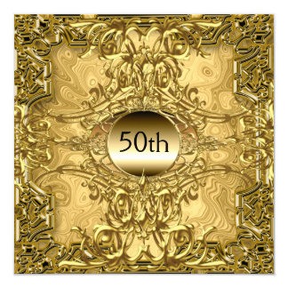 Luxury Hot 50th Gold Birthday Party Gold 13 Cm X 13 Cm Square Invitation Card