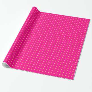 Luxury Hot Pink and Gold Girly Damask Pattern Wrapping Paper