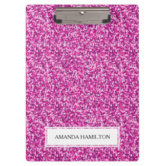 Luxury hot pink  Glitter add your name Clipboard