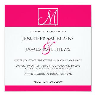 Luxury Hot Pink Monogram Wedding Invitation
