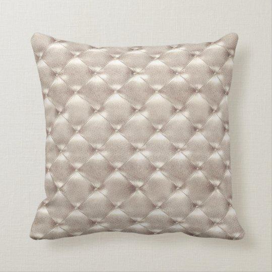 Luxury Ivory Titanium Tufted Leather Opulent Glam Cushion