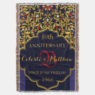Luxury Jeweled Blue Red Gold Wedding Anniversary