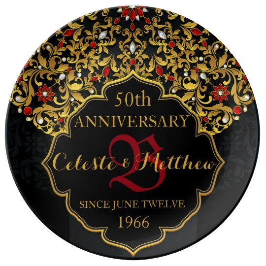 Luxury Jewelled Black Gold Red Wedding Anniversary Plate